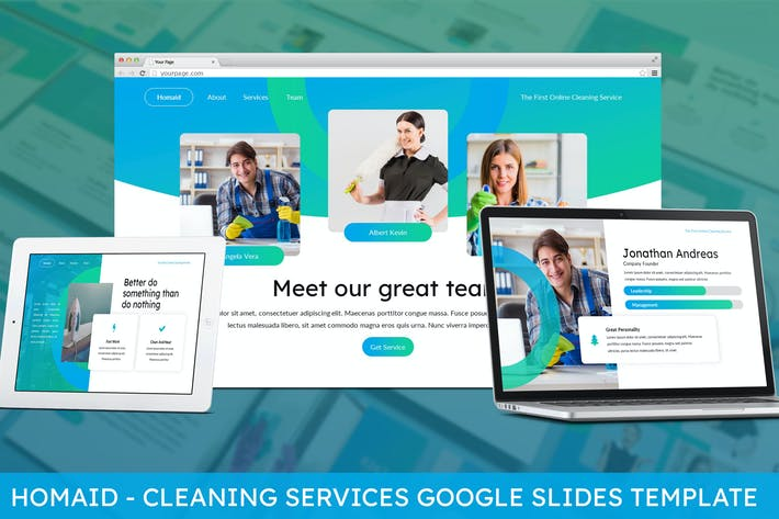 Cover Image For Homaid - Cleaning Services Google Slides Template