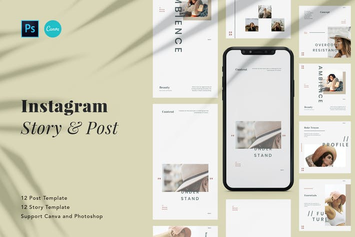 Thumbnail for Minimalist Beauty Instagram Pack Canva and PSD