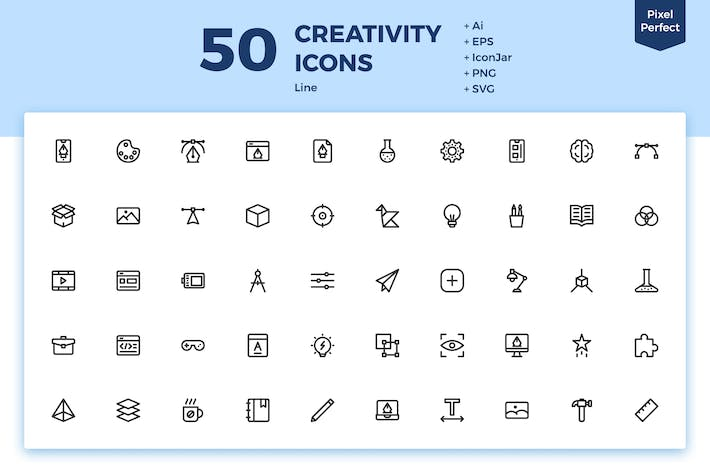 Thumbnail for 50 Creativity Icons (Line)