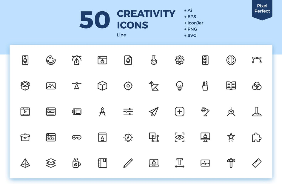 Download 50 Creativity Icons (Line) by inipagi