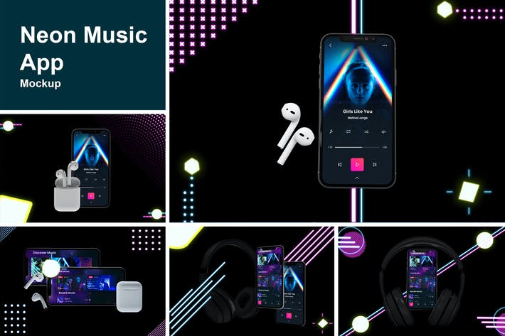 Thumbnail for Neon Music App MockUp