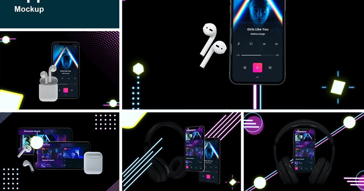 Download Neon Music App MockUp by QalebStudio