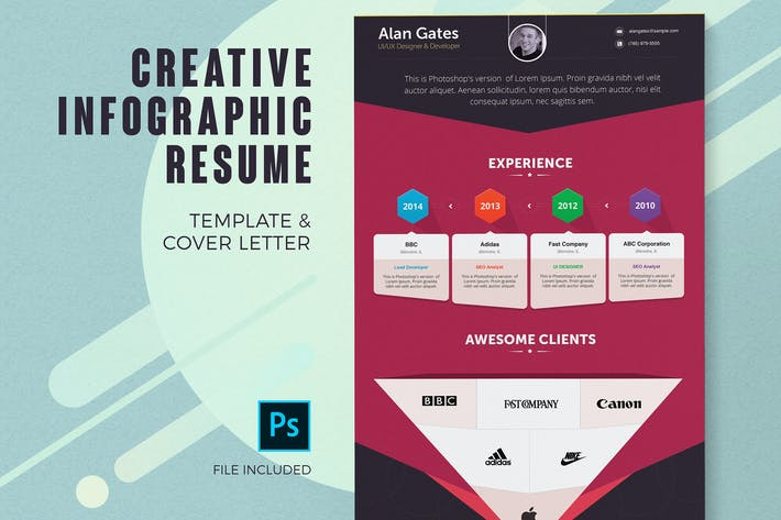 Thumbnail for Infographic Resume Template & Cover Letter