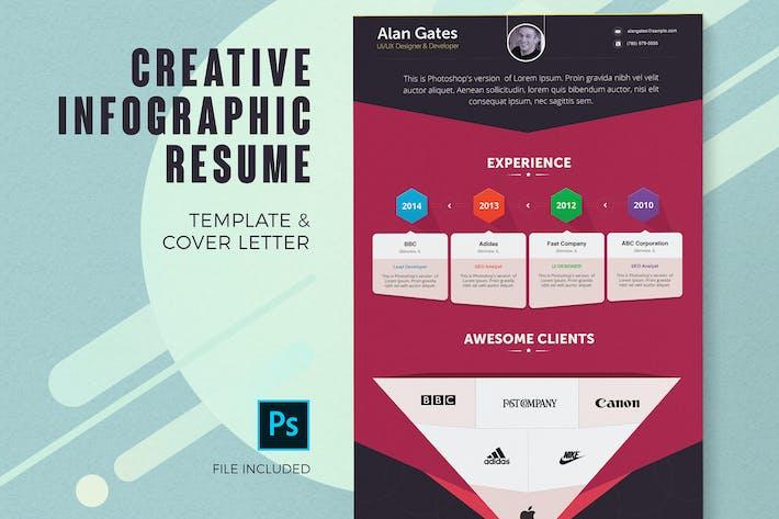 Thumbnail for Modèle de CV infographique et lettre de motivation