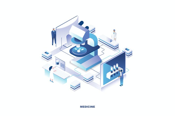 Thumbnail for Medical Isometric Banner Flat Concept