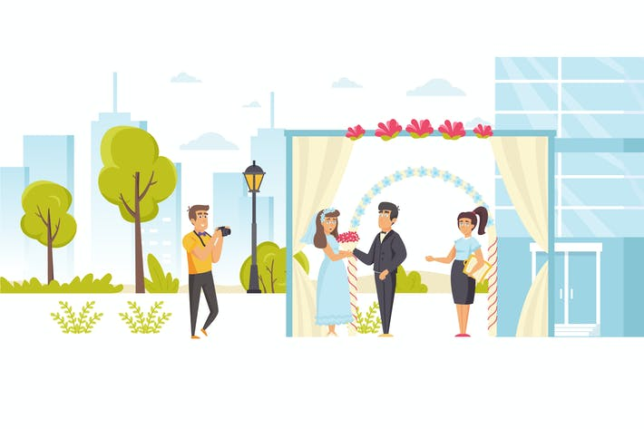 Thumbnail for People Wedding Ceremony Flat Scene Situation