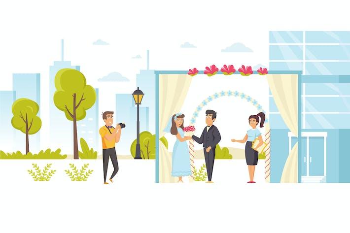 People Wedding Ceremony Flat Scene Situation