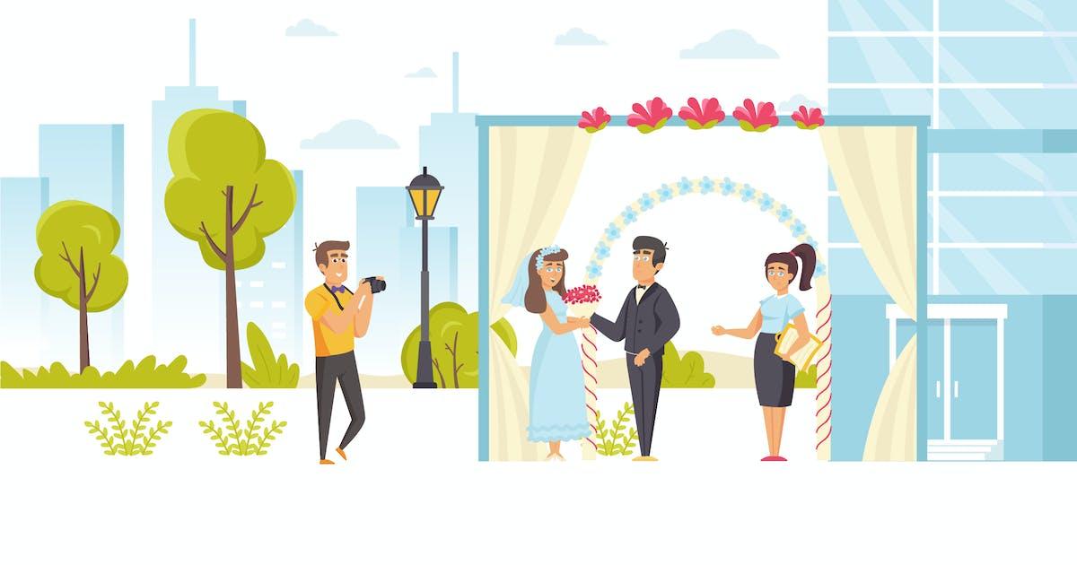 Download People Wedding Ceremony Flat Scene Situation by alexdndz