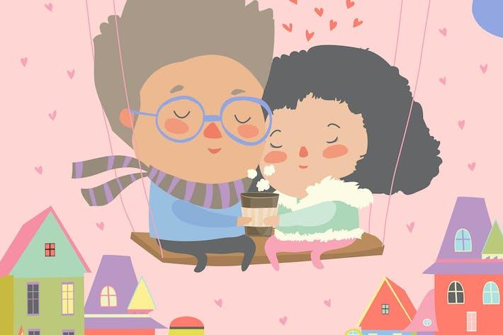 Thumbnail for Dos amantes sentados en columpio.Feliz Día de San Valentín.