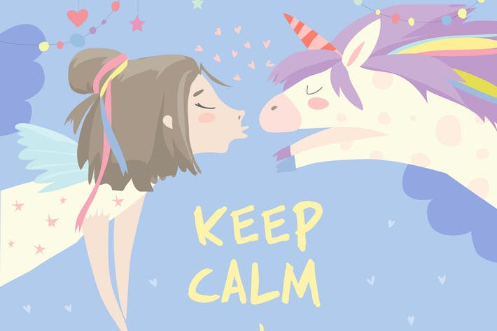 Thumbnail for Little girl kissing magic unicorn. Love concept.