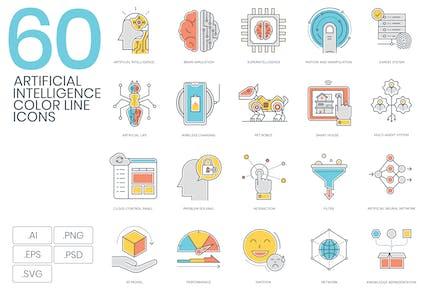 60 Künstliche Intelligenz FarblinienIcons