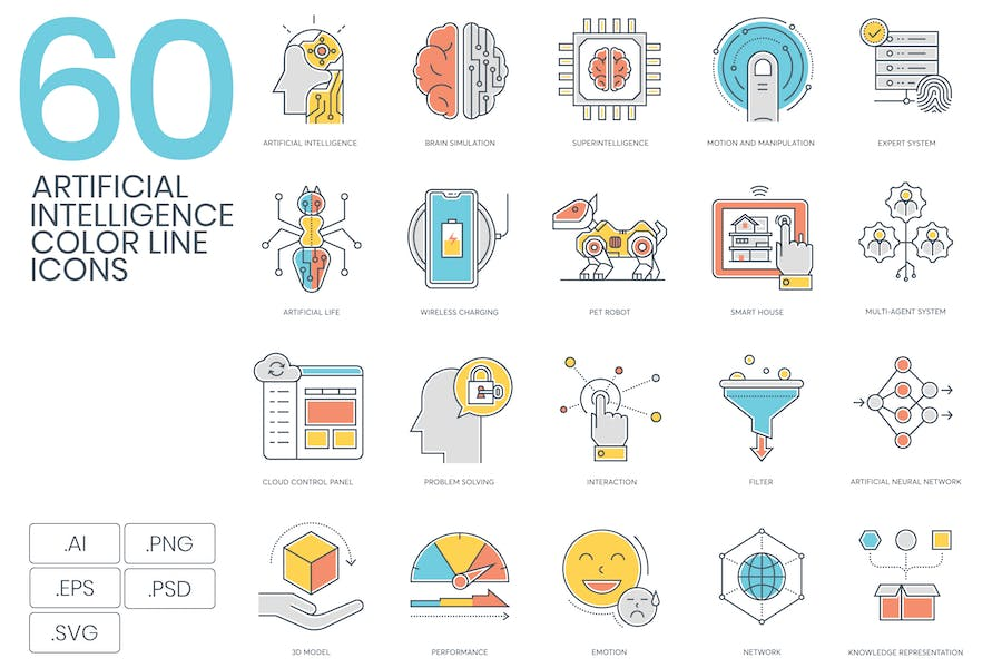 60 Artificial Intelligence Color Line Icons