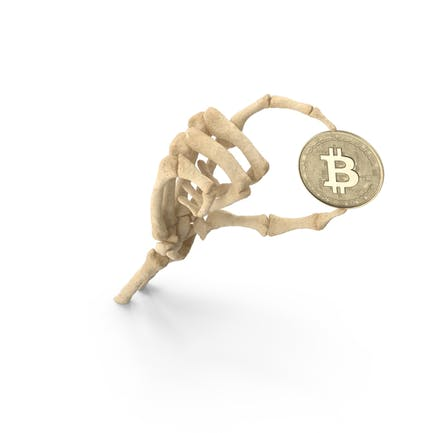 Skeleton Hand Holding a Bitcoin