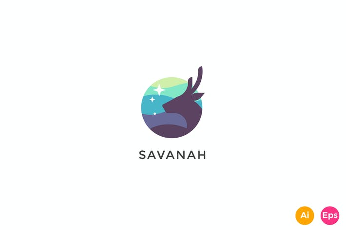 Thumbnail for Savannah Deer Stars Creative Logo Template