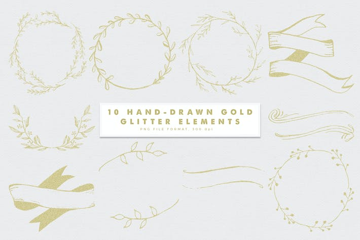 Thumbnail for Gold Glitter Hand Drawn Elements