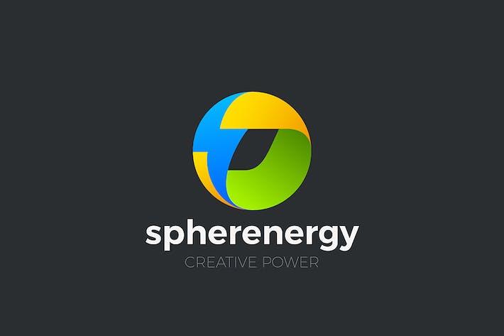 Energy Sphere Flash Bolt Logo Circle Power