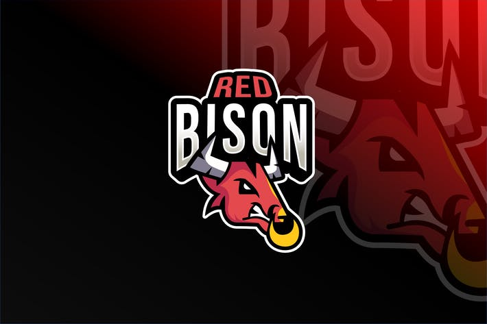 Red Bison Esport Logo Template