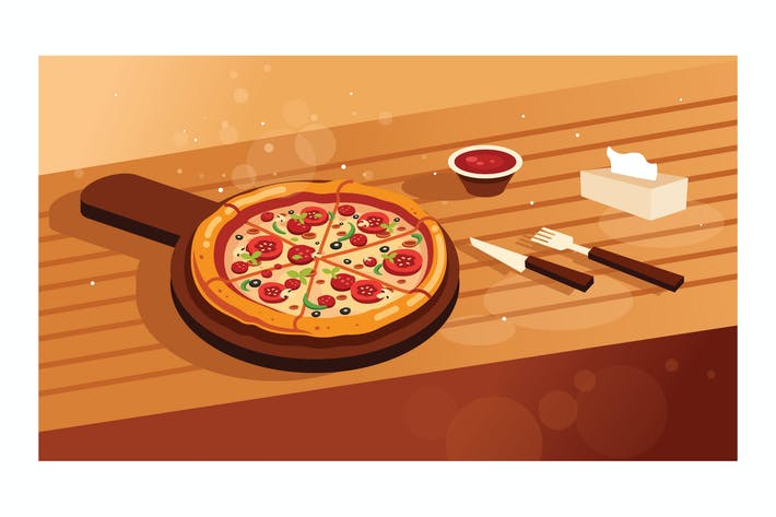 Thumbnail for Delicious pizza on wooden table