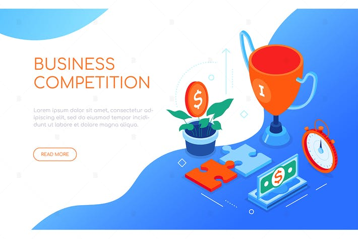 Thumbnail for Business competition - colorful isometric banner