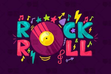 Étiquette rétro Rock'n'Roll