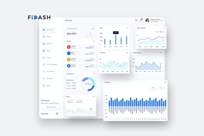 Thumbnail for FiDASH Finance Dashboard Ui Light - P