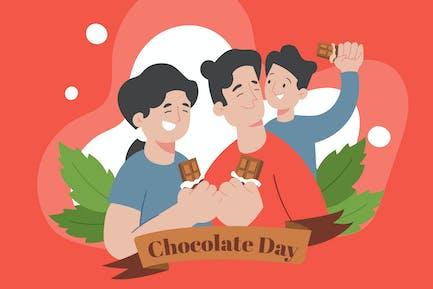 Family Eating a Chocolates - Flat Illustration