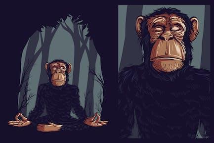 Yoga Chimpanzee T-Shirt Grafik