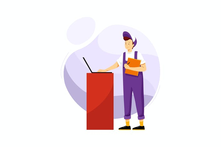 Thumbnail for Techniker mit Ordner und Computer in der Garage