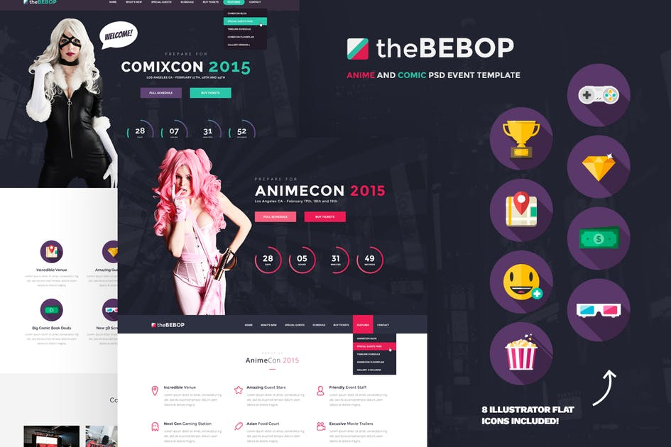 The Bebop Anime And Comic Convention PSD Template Von Odin Design