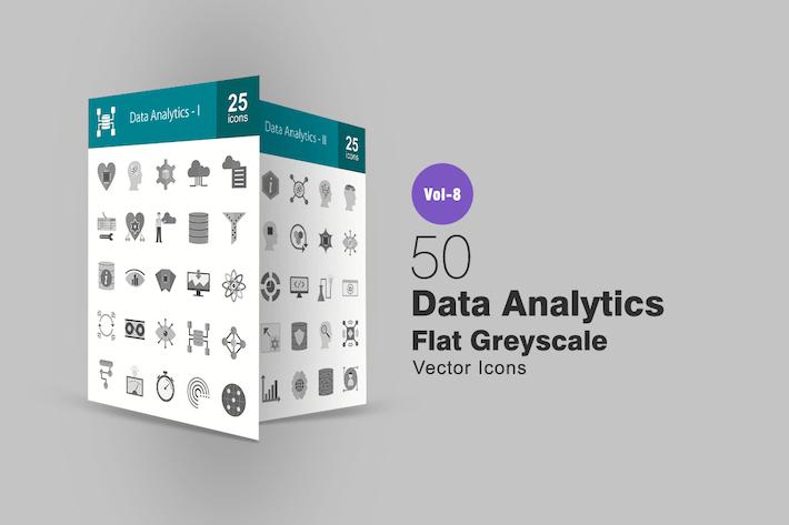 Thumbnail for 50 Data Analytics Flat Greyscale Icons