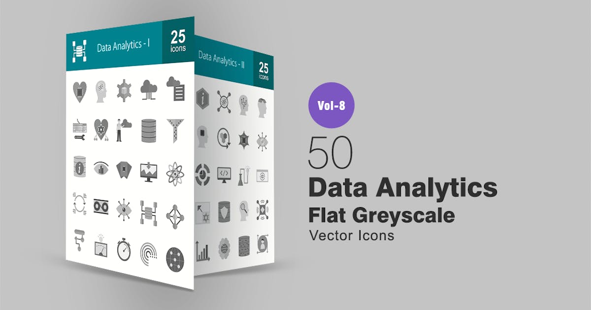 Download 50 Data Analytics Flat Greyscale Icons by IconBunny