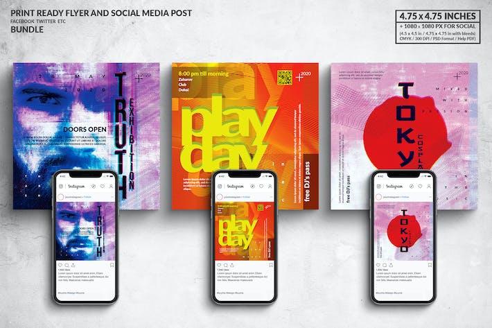 Thumbnail for Art Event Square Flyer & Social Media Post Bundle