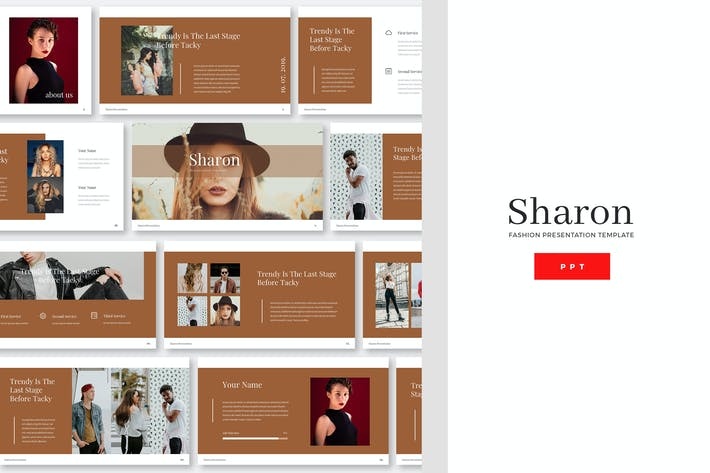 Thumbnail for Sharon - Fashion Powerpoint PräsentationsVorlage