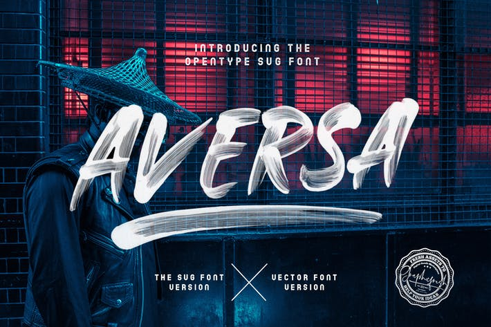 Cover Image For Aversa SVG Font + 27 Brushes