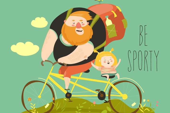 Thumbnail for Father and his daughter ride tandem bike. Vector