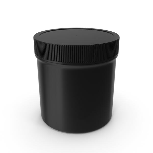 Пластиковые банку широкий рот прямой сторонний 6 унций закрытый черный