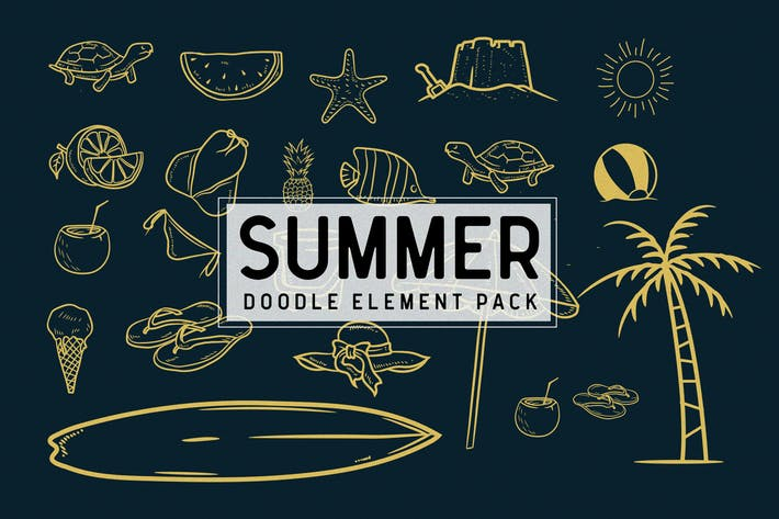 Thumbnail for Summer doodle element pack
