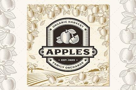 Etiqueta de manzanas Retro en Horizontal de cosecha