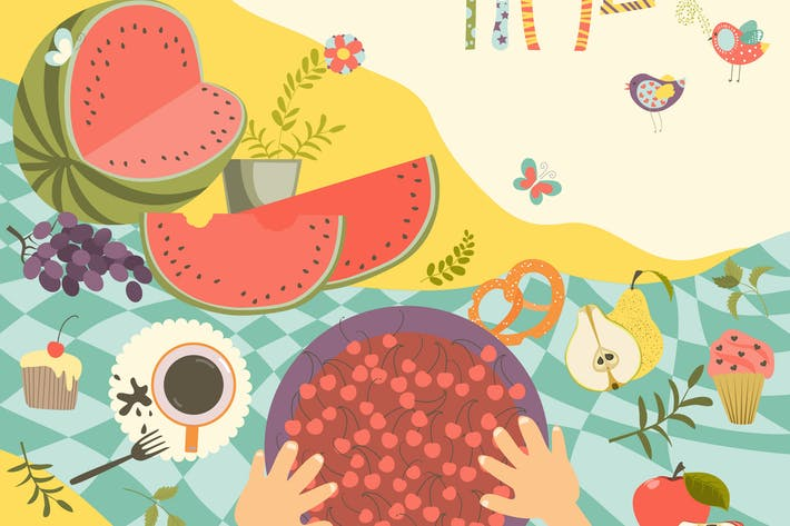 Thumbnail for Picnic with summer fruits and berries on the table