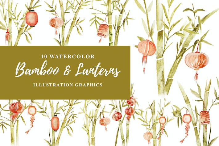 Cover Image For 10 Watercolor Bamboo and Lanterns Illustration