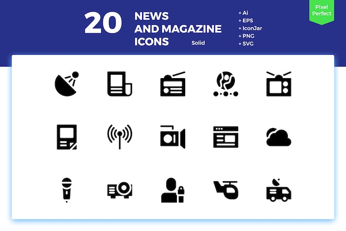 Thumbnail for 20 News and Magazine Icons (Solid)