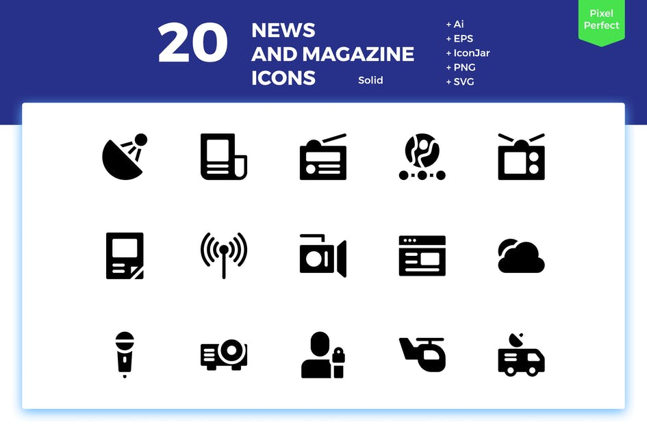 Download 20 News and Magazine Icons (Solid) by inipagi