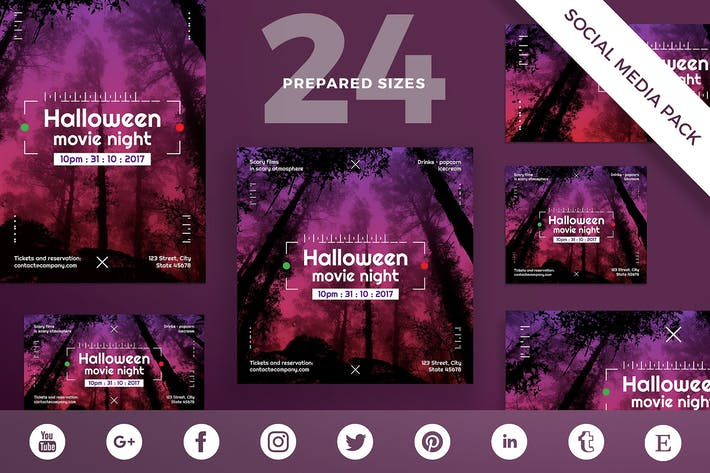 Halloween Movie Night Social Media Pack Template