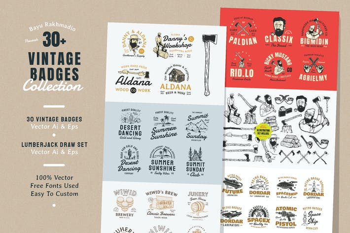Thumbnail for 30 Vintage Badges Illustration