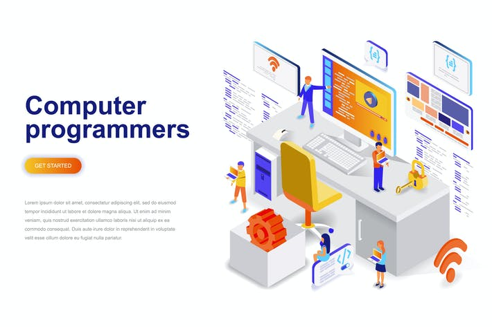 Thumbnail for Computer Programmers Isometric Concept