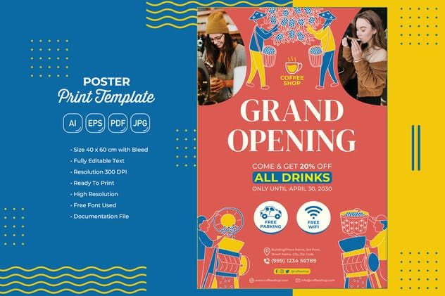 Coffee Shop #04 Poster Print Template