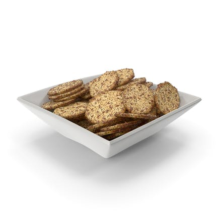 Square Bowl with Octagon Crackers with Flax and Poppy Seeds