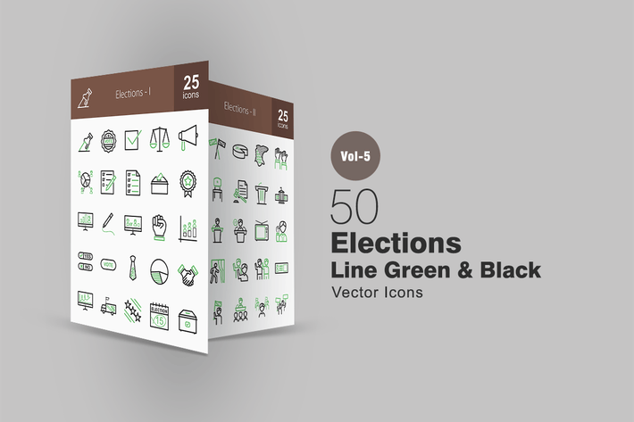 Thumbnail for 50 Elections Line Green & Black Icons