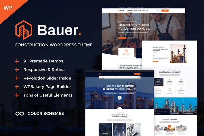Cover Image For Bauer - Construction & Industrial WordPress Theme
