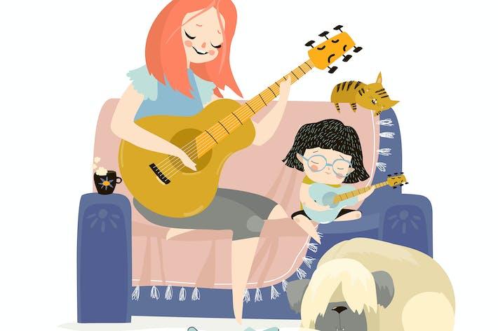 Thumbnail for Мультфильм вектор иллюстрация матери играть гит